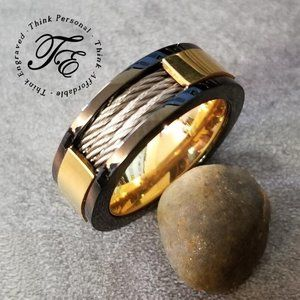 Men's Three Cable Inlay Wedding Ring Promise Ring
